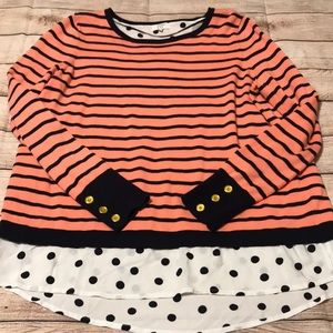 Crown & Ivy Sweater Navy & Coral Stripe Medium